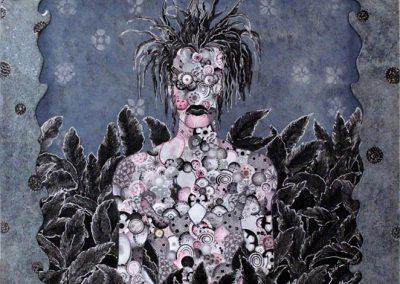 Vision infectée, 2005 Tuile sur toile 100 x 100 cm